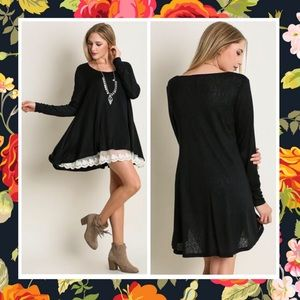 Dresses & Skirts - GLENDA LACE HEM BLACK TUNIC MINI DRESS LONG SLEEVE
